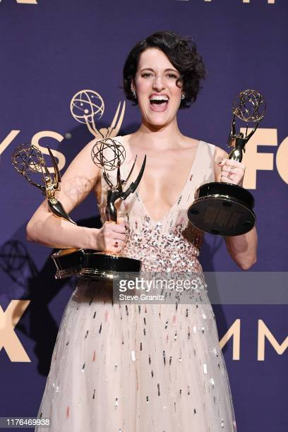 Phoebe WallerBridge poses with awards for Outstanding Comedy Series Outstanding Lead Actress in a Comedy Series and Outstanding Directing for a...