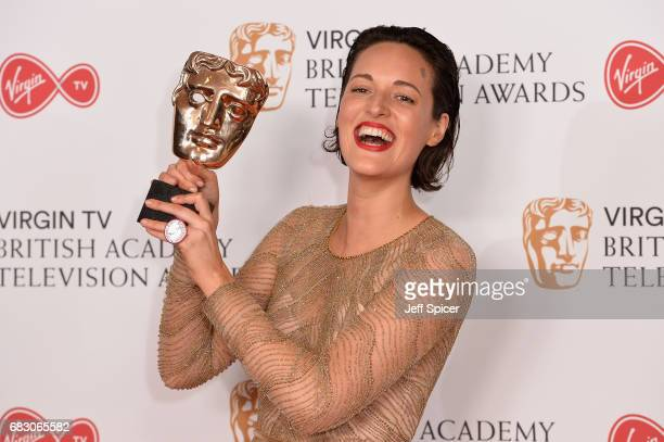 Phoebe WallerBridge poses with the award for Female Performance in a Comedy Programme in the Winner's room at the Virgin TV BAFTA Television Awards...