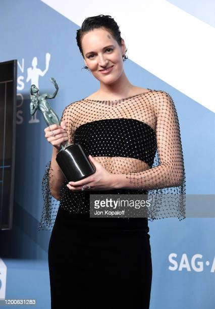 Phoebe Waller-Bridge, winner of Outstanding Performance by a Female Actor in a Comedy Series for 'Fleabag', poses in the press room during the 26th...