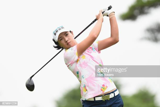 Phoebe Yao of Taiwan hits her tee shot on the 4th hole during the first round of the NEC Karuizawa 72 Golf Tournament 2017 at the Karuizawa 72 Golf...