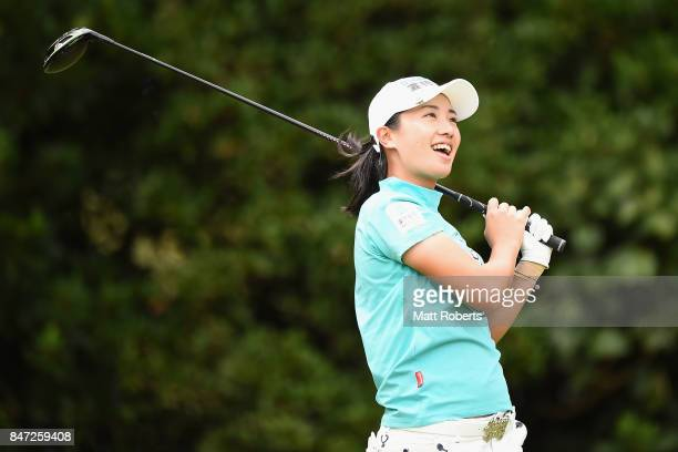 Phoebe Yao of Taiwan smiles after her tee shot on the 2nd hole during the first round of the Munsingwear Ladies Tokai Classic 2017 at the Shin Minami...