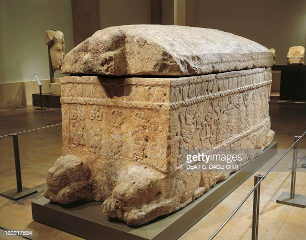 Phoenician civilization, 13th century b.C. Limestone sarcophagus of Ahiram, the king of Byblos.