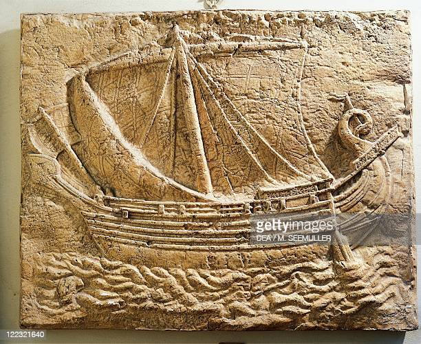 Phoenician civilization 4th century bC Relief portraying a Phoenician merchant ship