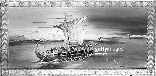 Phoenician merchant galley ca 7th century BC Crossing the Red Sea Painting