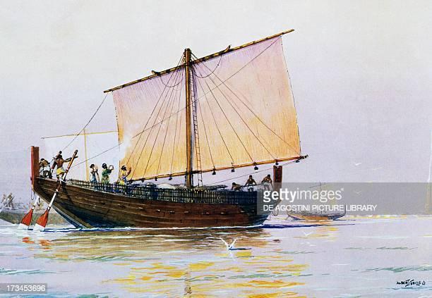 Phoenician merchant ship arriving in Pharos watercolour by Albert Sebille 20th century Paris Bibliothèque Des Arts Decoratifs