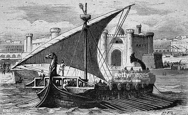 Phoenician merchant ship historical illustration circa 1886