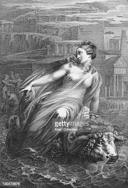 Phoenician princess Europa is carried away by Zeus in the form of a bull in Greek mythology An engraving by Fr Stober after Joh Ender