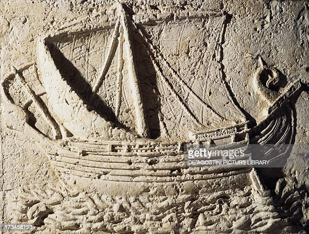 Phoenician ship detail of a relief from the Sarcophagus of Sidon 2nd century AD Lebanon