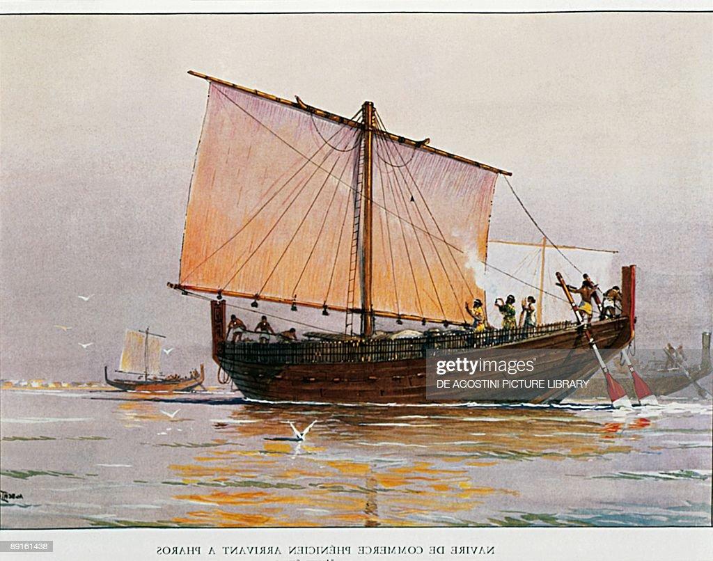 Phoenicians - Phoenician merchant ship near the landing place of Pharos : News Photo