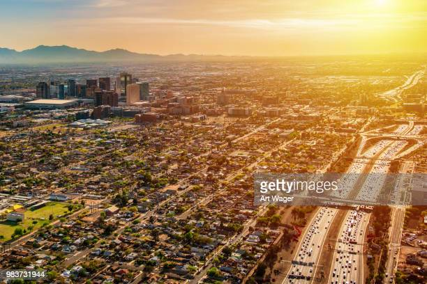phoenix aerial at dusk - phoenix arizona stock photos and pictures