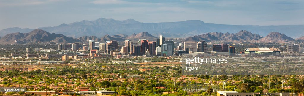 Phoenix en Scottsdale City panoramische skyline in Arizona USA : Stockfoto