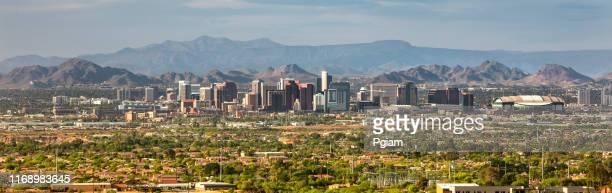 phoenix and scottsdale city panoramic skyline in arizona usa - arizona stock pictures, royalty-free photos & images