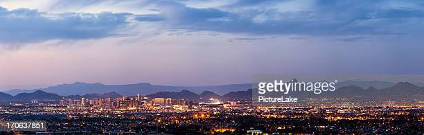 phoenix and scottsdale dusk panorama - phoenix arizona stock photos and pictures