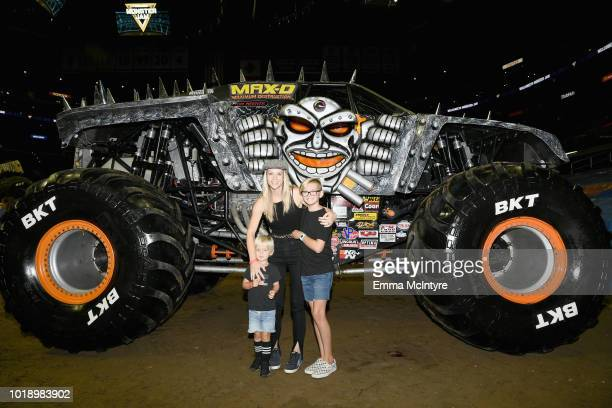 Phoenix Anderson AJ Cook and Mekhai Anderson attend Monster Jam at STAPLES Center on Saturday August 18 2018 in Los Angeles CA