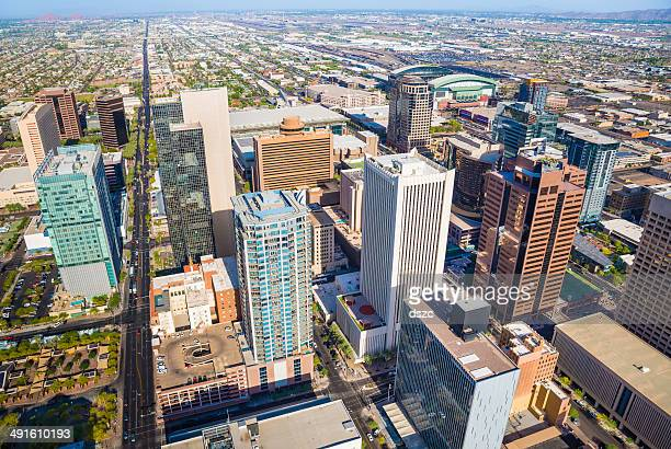 phoenix arizona downtown cityscape aerial shot of the skyline - phoenix arizona stock photos and pictures
