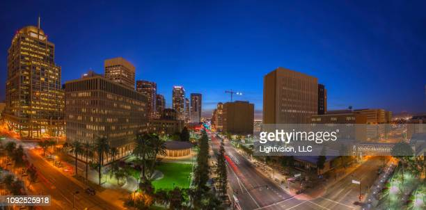 phoenix, arizona downtown skyline at night - phoenix arizona stock pictures, royalty-free photos & images