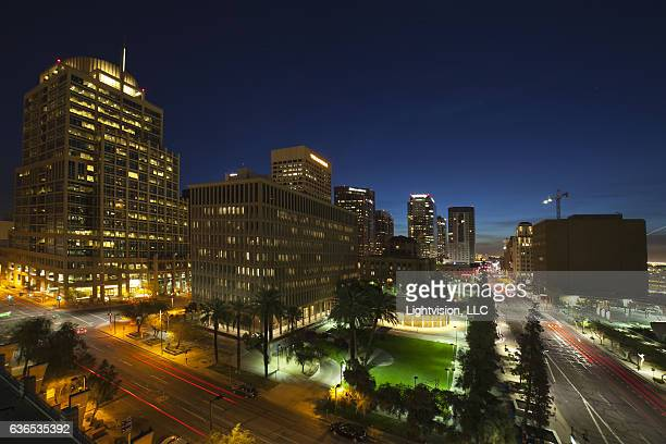 phoenix, arizona downtown skyline - phoenix arizona stock photos and pictures