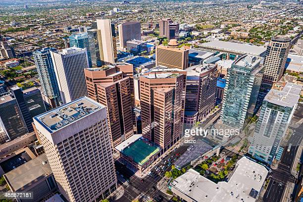 phoenix arizona, looming aerial view of downtown cityscape skyline skyscrapers - phoenix arizona stock photos and pictures