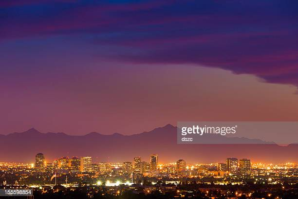 phoenix arizona skyline cityscape panorama night evening sunset - phoenix arizona stock photos and pictures