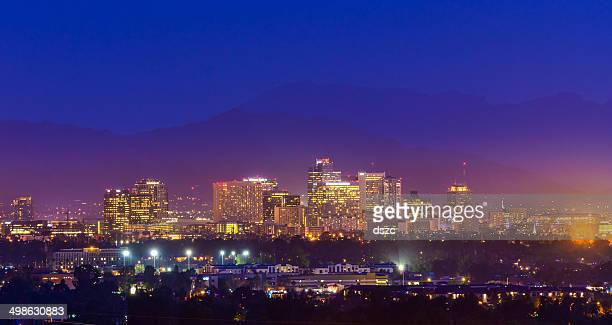 Phoenix Arizona skyline panorama cityscape skyscrapers twilight night, copyspace