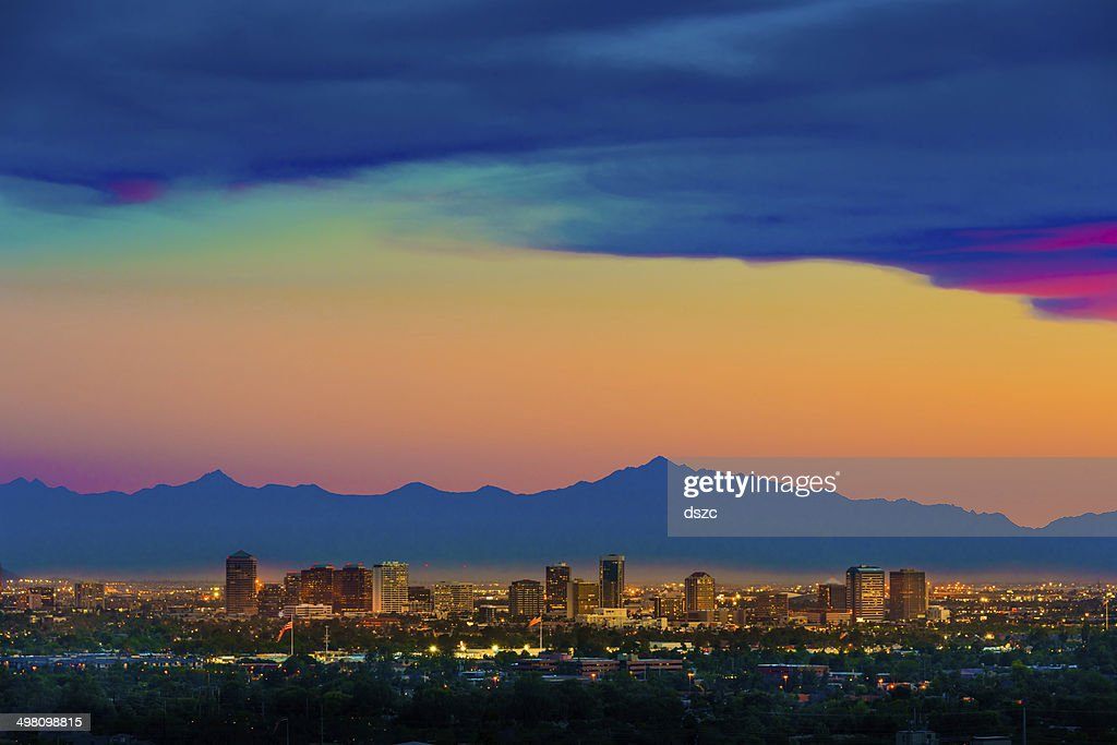 Phoenix Arizona skyline panorama cityscape sunset, aerial from Scottsdale : Stock Photo
