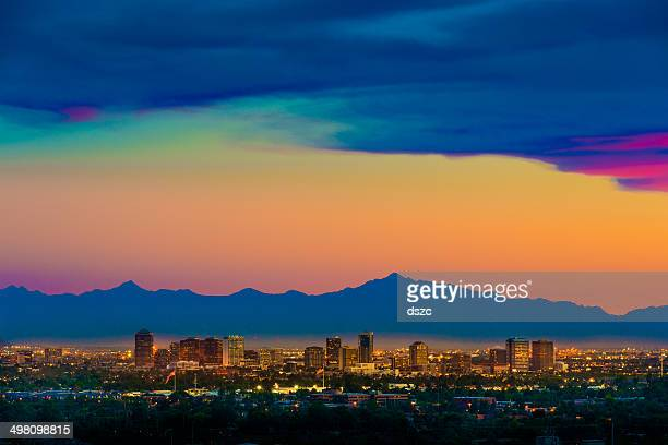 phoenix arizona skyline panorama cityscape sunset, aerial from scottsdale - phoenix arizona stock photos and pictures