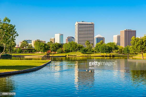 phoenix arizona skyline - park, pond, and skyscrapers cityscape background - phoenix arizona stock photos and pictures