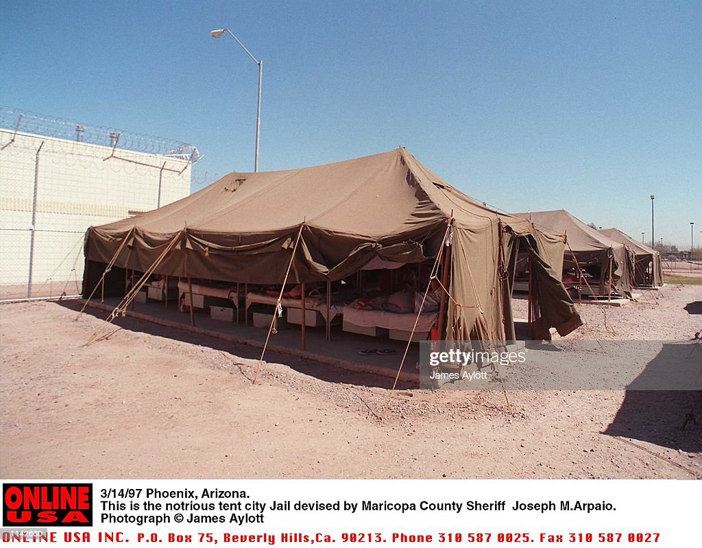 Phoenix Arizona. This is the notrious tent city jail devised by Maricopa County Sheriff & 3/14/97 Phoenix Arizona. This is the notrious tent city jail ...