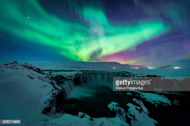 Phoenix aurora at god waterfall