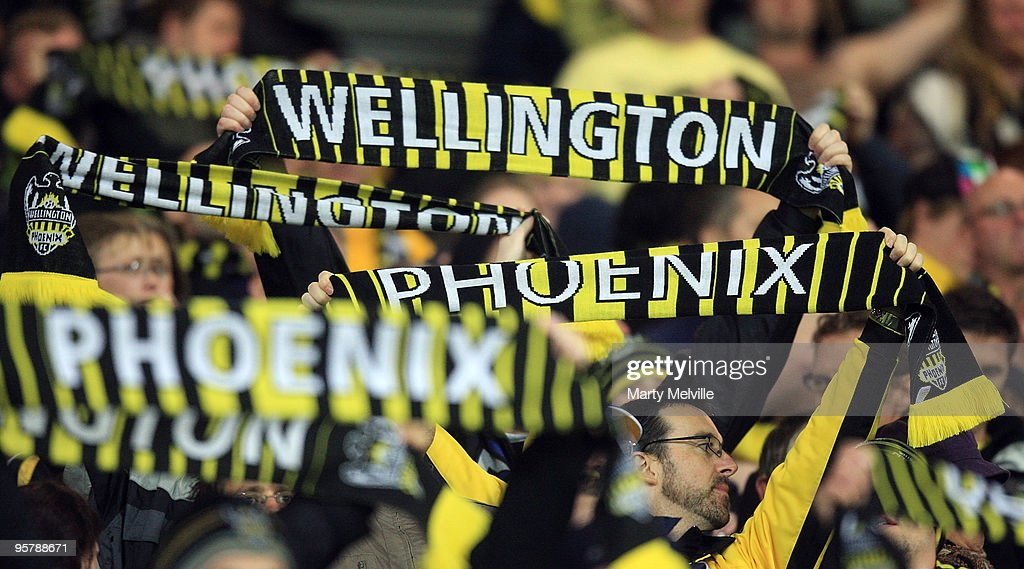 Phoenix celebrate the win during the round 23 A-League match between the Wellington Phoenix and North Queensland Fury at Westpac Stadium on January 15, 2010 in Wellington, New Zealand.
