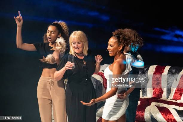 Phoenix Chi Andrea Brown and Mel B on stage during her Brutally Honest Fabulous Show at The Grand Theatre Opera House on August 25 2019 in Leeds...