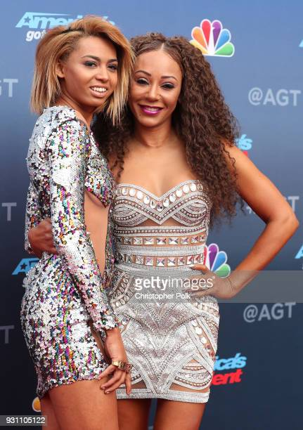 Phoenix Chi Gulzar and Mel B attend the red carpet kickoff for 'America's Got Talent' season 13 at Pasadena Civic Auditorium on March 12 2018 in...