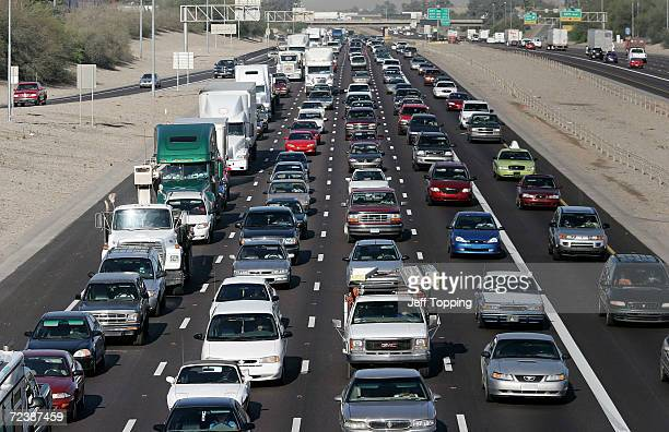 Phoenix commuters drive on the I10 Freeway during the morning commute to work April 5 2005 in Phoenix Arizona A study recently released by the US...