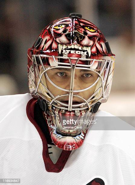 Phoenix Coyotes' goalie Curtis Joseph shows of his 'Cujo' mask versus the Buffalo Sabres at the HSBC Arena in Buffalo NY on January 12 2006 Phoenix...