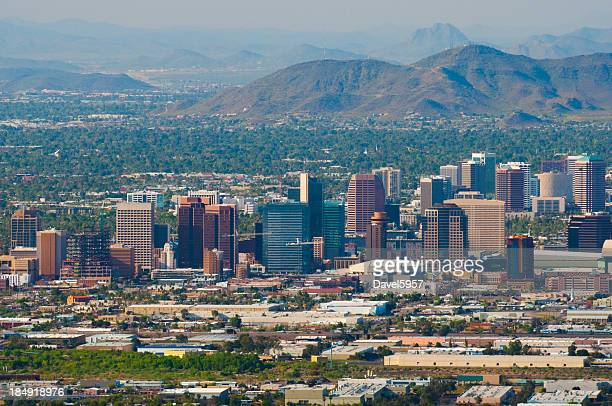 Phoenix downtown and midtown skyline aerial