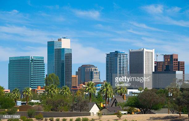 phoenix downtown skyline and palm trees - phoenix arizona stock photos and pictures