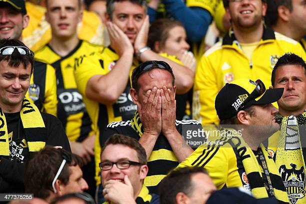 Phoenix fan covers his eyes after a missed opportunity during the round 22 ALeague match between Wellington Phoenix and Perth Glory at Westpac...