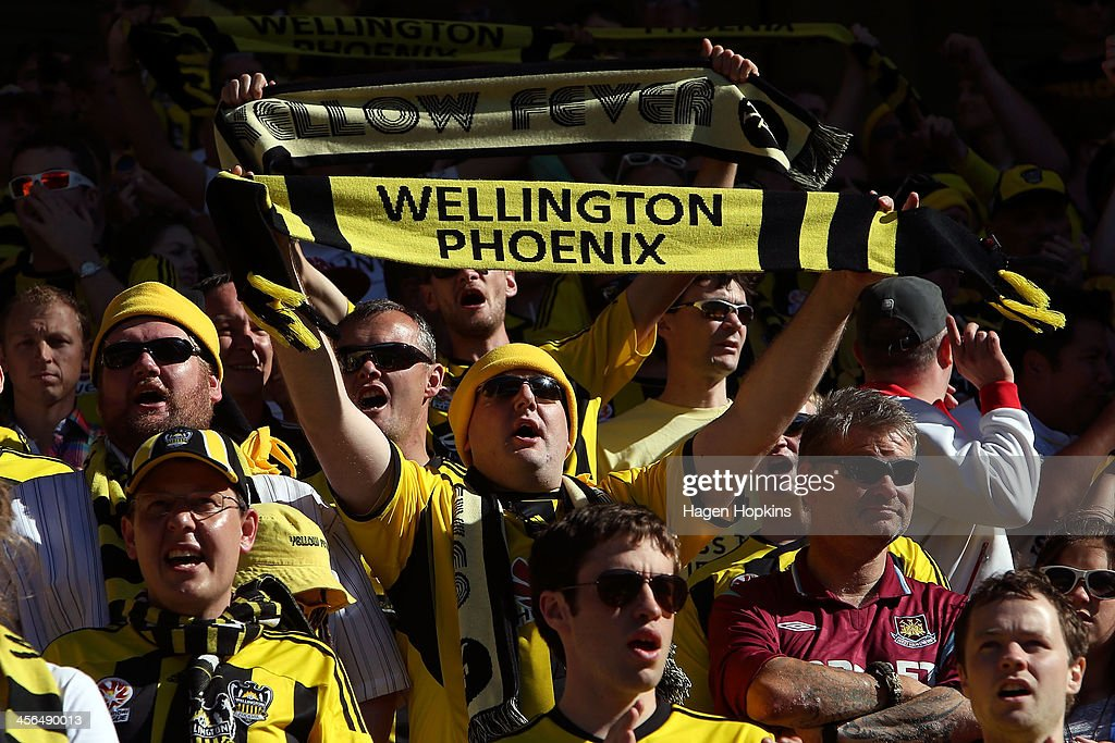 A Phoenix fan shows his support during the round 10 A-League match between the Wellington Phoenix and Brisbane Roar at Westpac Stadium on December 14, 2013 in Wellington, New Zealand.