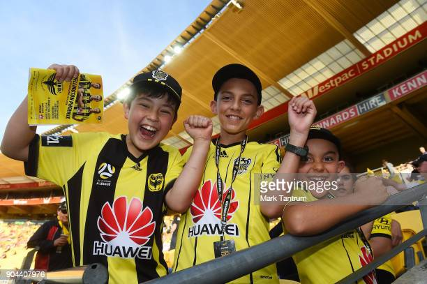 Phoenix fans before the round 16 ALeague match between the Wellington Phoenix and the Western Sydney Wanderers at Westpac Stadium on January 13 2018...