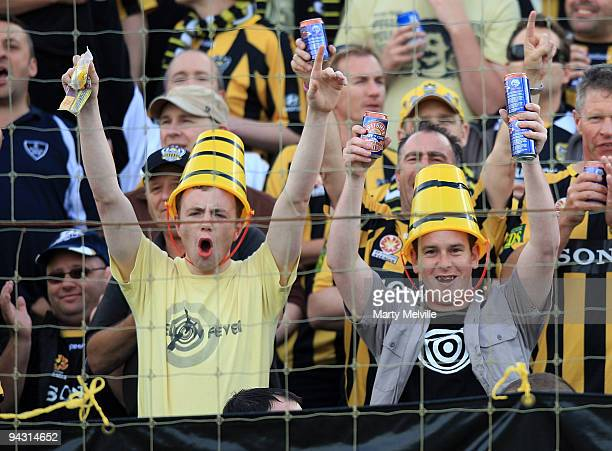 Phoenix fans cheer during the round 18 ALeague match between the Wellington Phoenix and Sydney FC at FMG Stadium on December 12 2009 in Palmerston...