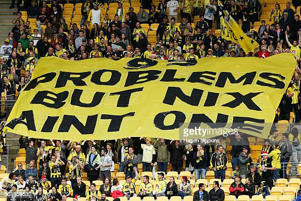 Phoenix fans hold up a sign during the round 11 ALeague match between the Wellington Phoenix and Sydney FC at Westpac Stadium on December 19 2015 in...