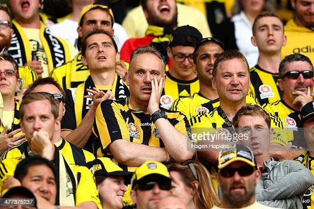Phoenix fans look on during the round 22 ALeague match between Wellington Phoenix and Perth Glory at Westpac Stadium on March 9 2014 in Wellington...