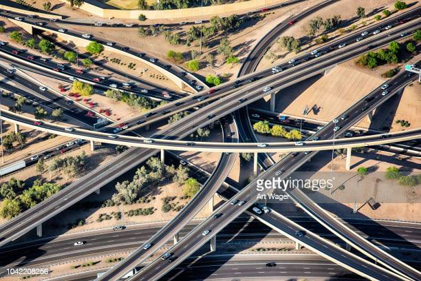 phoenix freeway interchange from above - phoenix arizona stock pictures, royalty-free photos & images
