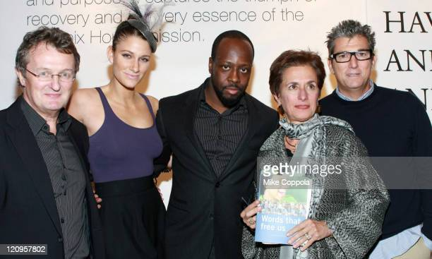 """Phoenix House CEO Howard Meitner, Niia, Wyclef Jean and staff of Phoenix House attend the book launch of """"Words That Free Us: Voices Of Recovery"""" at..."""