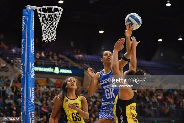 Phoenix Karaka of the Mystics challenges Tiana Metuarau of the Pulse during the round six ANZ Premiership match between the Central Pulse and the...