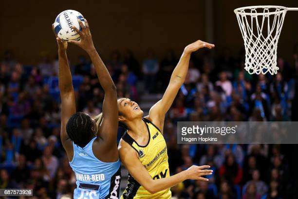 Phoenix Karaka of the Pulse defends against Jhaniele FowlerReid of the Steel during the ANZ Premiership match between the Pulse and the Steel at Te...