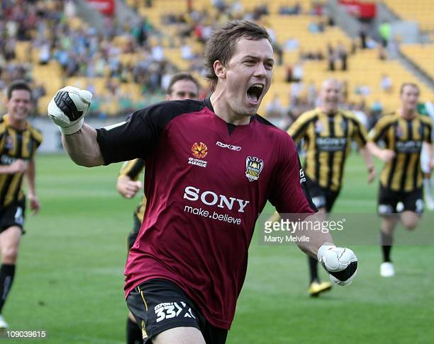 Phoenix keeper Danny Vucovic celebrates his goal during the round 27 ALeague match between the Wellington Phoenix and the North Queensland Fury at...