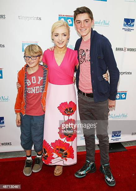 Phoenix List Peyton List and Spencer List arrive at the Milk Bookies Story Time Celebration held at Skirball Cultural Center on April 27 2014 in Los...