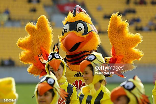 Phoenix mascot Nixie entertains during the round one ALeague match between Wellington Phoenix and Brisbane Roar at Westpac Stadium on October 13 2013...