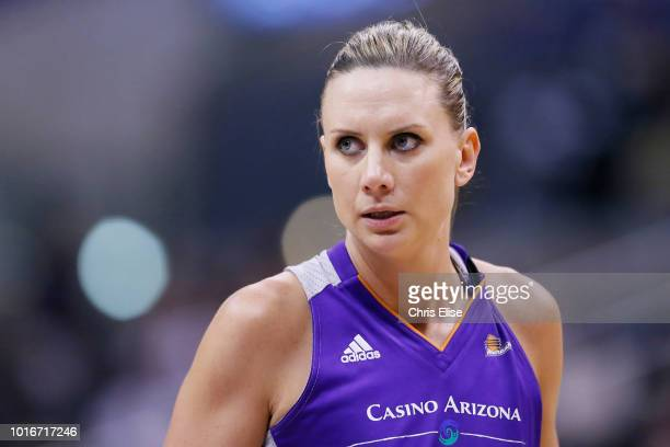 Phoenix Mercury forward Penny Taylor rests during the Phoenix Mercury 9373 victory over the Los Angeles Sparks at the Staples Center on July 24 2014...